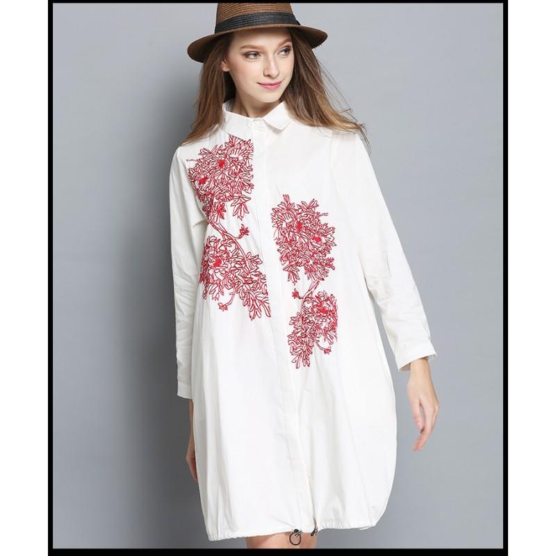 New Women Cotton Embroidery Blouse Dress Plus Size Spring Women