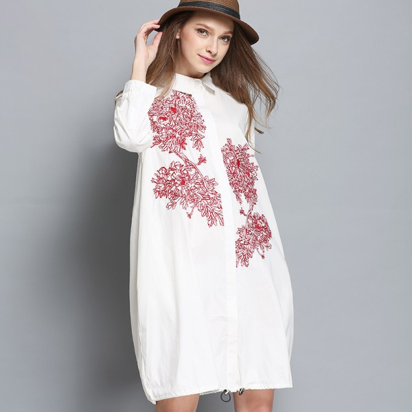 2017 new women cotton embroidery blouse dress plus size spring women shirt  dresses loose design white blue color