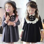 2017 spring dress girl new winter long sleeve kids dress top quality cute cotton school style baby girl clothes for 2-8 children