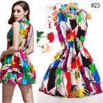 2017 spring summer new Korean Women casual Bohemian floral sleeveless vest printed beach chiffon dress vestidos WC344-2