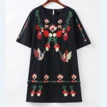 2017 women vintage national style embroidery mini black dress elegant vestidos casual two pieces short sleeve dresses  DS007