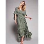 2017 women's brand dresses new arrival Bohemian loose waist halter dress backless holiday maxi dress ruffles V-neck sexy dress