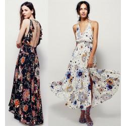 2017 women's sexy V-neck backless long dress flower printing holiday maxi dresses bohemian beach dress sleeveless elegant dress