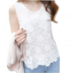 2017fashion lace tank  patchwork chiffon vest crotch vest summer tank tops basic shirt  white S-XL L178