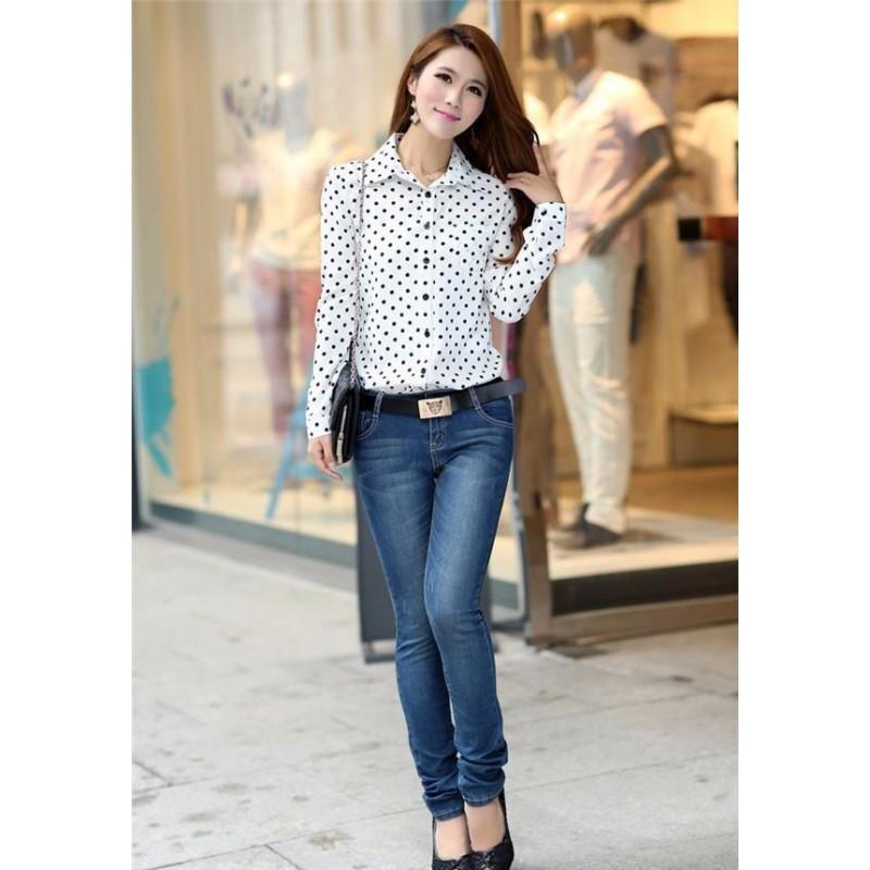 Meaneor Women Button Shirt Women Long Sleeve Dress Shirts Casual Button Blouse Tops