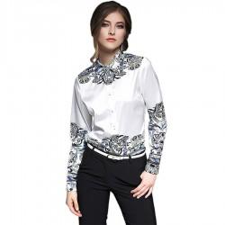 2018 European Style Autumn Floral Print Elegant Blouse Brand Runway Shirt Women Long Sleeve Tops Blousa Ladies Office Shirts