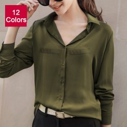 2018 Hot Brand Women Shirts Blouses Long Sleeve Casual Solid Ladies Chiffon Blouse Tops Fashion OL Plus Size Shirt Chemise Femme