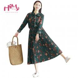 2018 Japanese Chiffon Green Tunic Mori Girl Long Dress Women Floral Pleated Plus Size Maxi Party Dresses Vintage Boho Dress