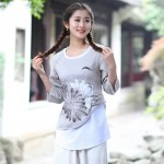 2018 New Chinese Style Women Vintage Blouse Female Cotton Linen Shirt Spring Autumn Print Flower Tops S M L XL XXL XXXL 2613
