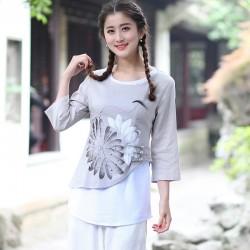 2018 New Chinese Style Women Vintage Blouse Female Cotton Linen Shirt Spring Autumn Print Flower Tops S M L XL XXL XXXL 2613