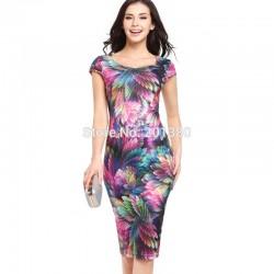 2018 New Summer Empire Fashion Print Short Women's Dress Slim