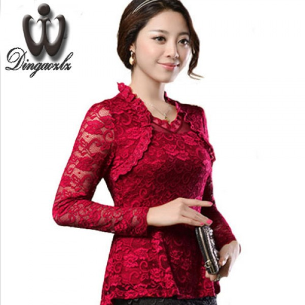 2018 Plus size Women clothing Spring lace Shirt Tops Cutout basic female Elegant long-sleeve Lace Blouses shirts M-4XL