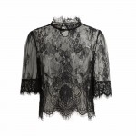2018 Sexy Crop Top Women Sheer Lace Tops Embroidery High Neck Half Sleeve Women Blouse Mesh Shirt Clubwear Blusas Ropa Mujer