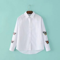 2018 Spring New Arrival Women Fashion Butterfly Embroidery White Long Sleeves Shirt, Female Big Size Elegant Casual Blouse Tops