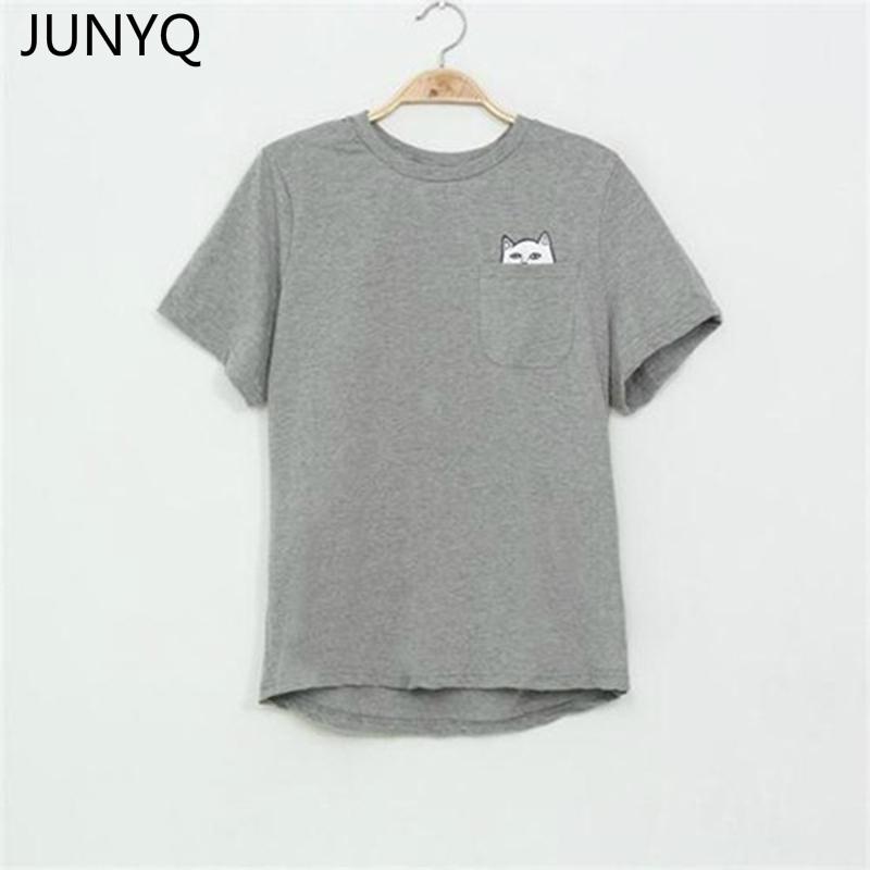 7ea7b5e9c 2018 Summer T-shirt Women Casual Lady Top Tees Cotton Tshirt Female Brand Clothing  T Shirt Printed Pocket Cat Top Cute Tee S-4XL