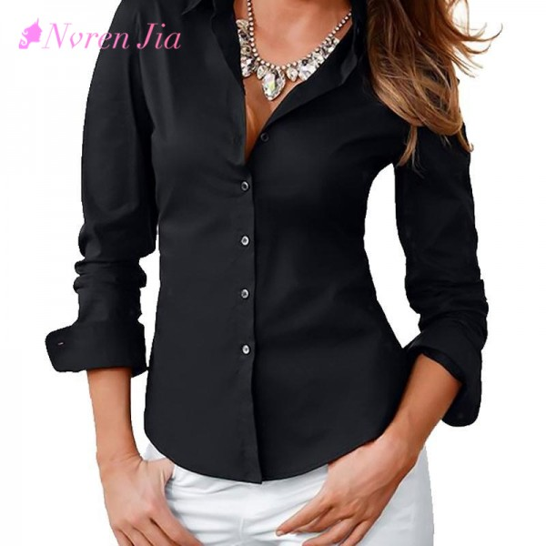 2018 Women Autumn Blusas Femininas Turn Down Collar Fashion Slim Long Sleeve Blouse Formal Ladies Office Shirts Black