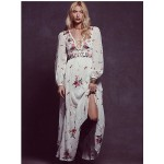 2018 flower embroidery long dress free cotton v-neck long sleeve white boho dress people bandage sexy loose dress bohemian dress