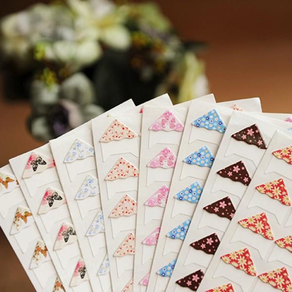 24 pcs lot diy floral print corner paper stickers for photo albums frame decoration scrapbooking wholesale 8 color