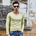 2xl 3xl 2017 New Fashion Clothing Korean T shirts Men Spring Autumn Casual Slim V Neck Long Sleeve Plus Size Men T Shirt Tops