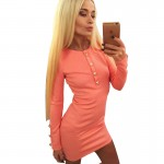 3 color Winter Autumn Women Dress Fashion Sexy O-neck Long Sleeve Mini Casual Dress LLYS7902