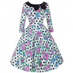 3/4 Long Sleeve Short Dress 50s Polka Dots Floral Print Rockabilly Vestido Retro Vintage Party Picnic Big Swing Tea Dresses 2016