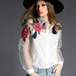 3D Flower Embroidery Blouses For Women 2017 Brand New Tops Summer Style Organza Patchwork Long Sleeve White Blouse Shirt Female