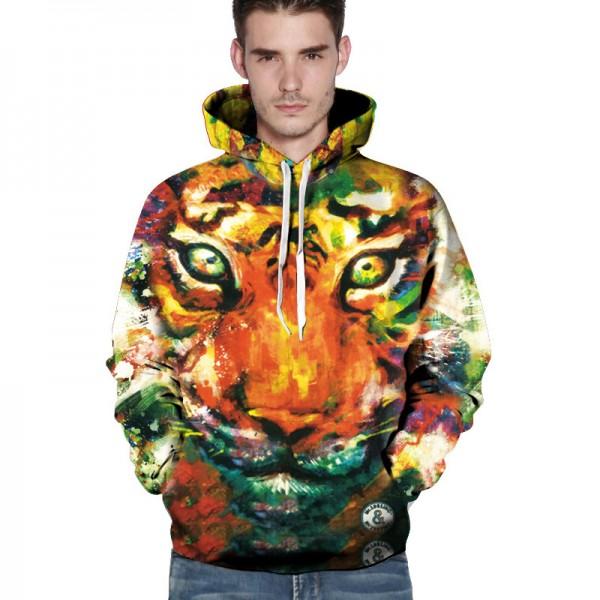 3D Painting animal colorful tiger hoodies men sweatshirt men harajuku brand clothing sweatshirt hoodie streetwear pullovers