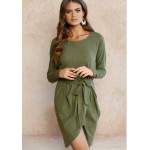 4 colour Autumn winter dress 2017 Round neck solid High quality Loose Casual Irregular package hip Dress with belt