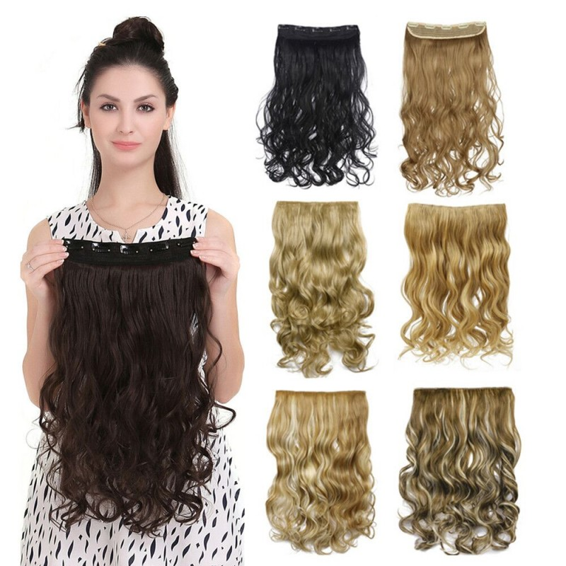 50 Colors Curly Clip In Hair Extension Women Natural Synthetic