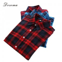 5xl plus size checked blouse women 2017 autumn/winter classic plaid shirt women bottoming cotton shirt office red plaid blouse