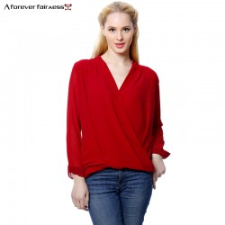 A Forever Spring Women Blouses And Shirt Long Sleeve Chiffon Shirt Front Cross White Red Fashion Chiffon Blusas Spring AFF367