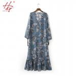 A16 2017 spring HG bohemian dress women flower printed long dress females straps on neck ruffles dress femme