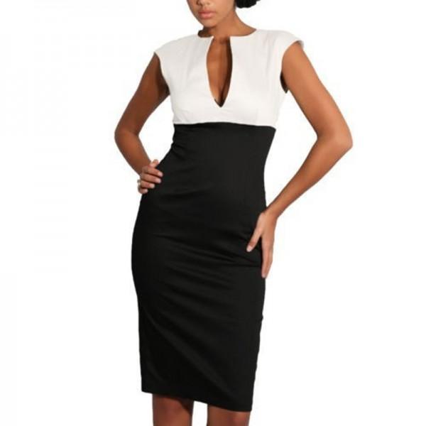 AAMIKAST New Fashion women dress Elegant V-neck Sleeveless Pencil Party Cocktail Body Women Dressescon