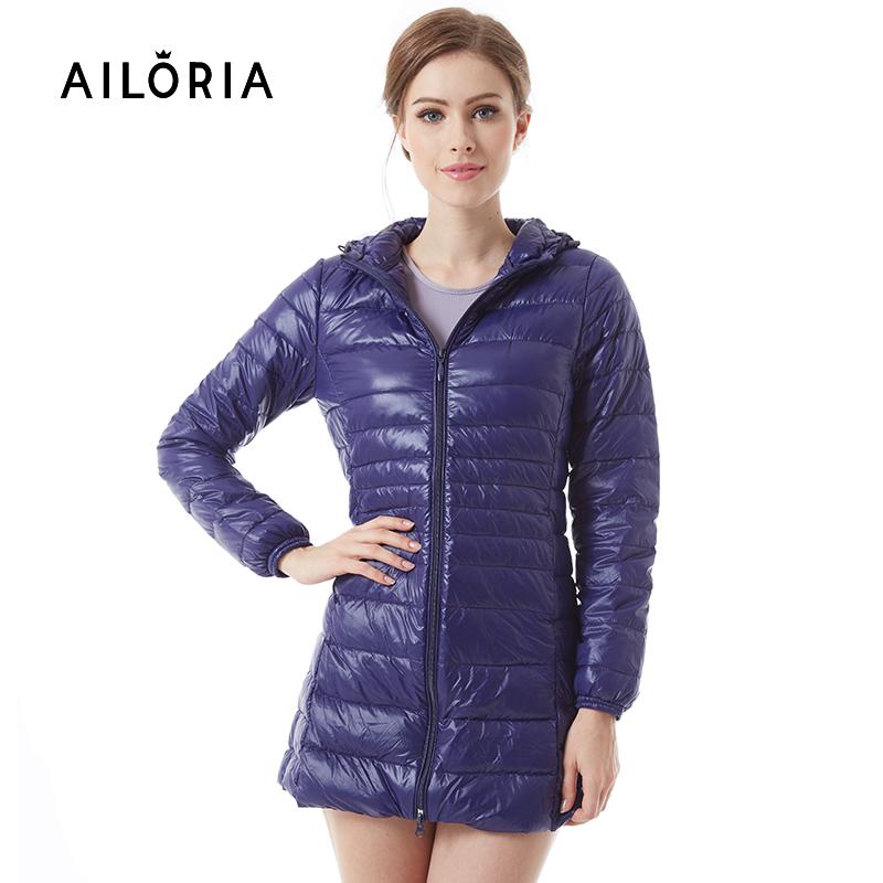f1a70103c AILORIA 2017 Winter Long Spring Autumn Overcoat Women Ultra Light 90% White  Duck Down Coat Jackets Duck Down Jacket For Women
