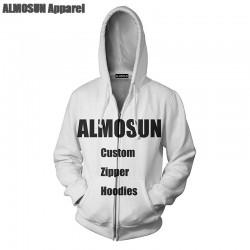 ALMOSUN Customize Fashion 3D All Over Printed Zippper Men Pockets Hoodies Sweatshirt Hipster Casual Streetwear Jumper Unisex