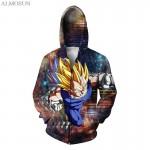 ALMOSUN DBZ Vegeta Goku Saiyan Zip-Up Men Pockets Hoodie Sweatshirt 3D Print Casual wear Jumper Harajuku Women