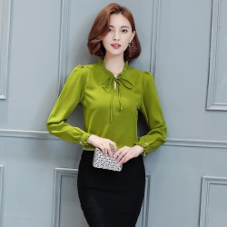 ARJUNGO New Women Blouse Chiffon Long Sleeves O Neck Bow elegant Ladies Office Blouse Shirts Women Top Blusas