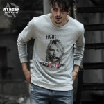 ATHIEF Mens Sweatershirt NIRVANA Kurt Cobain Pattern Printed Overpull for man Top Rock and Roll Brand Bottoming Hoodie Plus Size