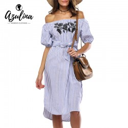 AZULINA Casual Blue Striped t shirt summer Dress Women Off the Shoulder Floral Embroidery Sexy Beach Midi Dress Sundress 2017