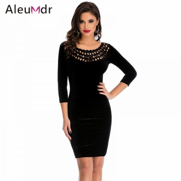 Aleumdr 2017 Formal Office Dresses For Women With Long Sleeve Black Sexy Hollow Out O-Neck Velvet Mini Dress Slim LC22925