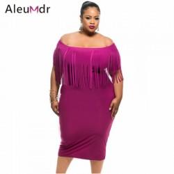 Aleumdr Plus Size Women Clothing 2017 Sexy Off The Shoulder Fringe Tassel Top Summer Midi Dresses LC61055 Vestidos Verano