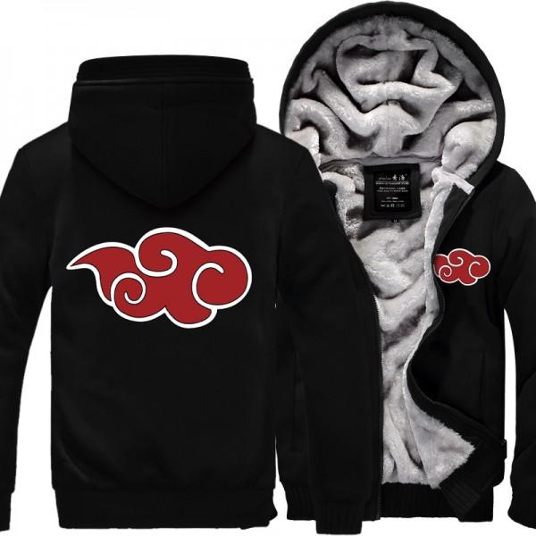 Anime Naruto Hooded Coat Thick Zipper Jacket Sweatshirt For Men Clothing jackets autumn and winter Men's streetwear hooed male