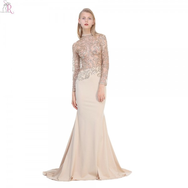 Apricot Mesh Sequined Sheer See-throught Top Maxi Bodycon Dress Mermaid Backless Long Sleeve Sexy Party 2017 Women