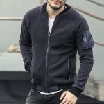 Army green cotton mens sweatshirt fleece jacket Mens pilot jacket men winter sweatshirts jacket slim zipper jacket 2017