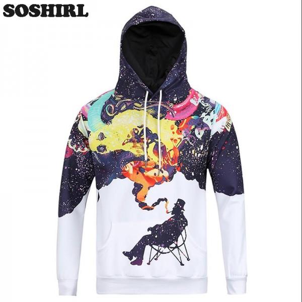 Artistic Jazz Hoodie Novelty Painter Creative Sweatshirts Spring/Autumn Casual Tops Clothing Print Ceatividad Smoking Man Tops