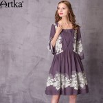 Artka Women's 2017 Spring Vintage Printed Dress Elegant Square Collar Three Quarter Sleeve Comfy Draped Dress LA11177C