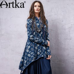 Artka Women's Fashion Irregular Mandarin Collar Close Skin Spring New Long Tassels Hand  Five National Printing Shirt  SA19939C