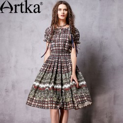 Artka Women's Spring New Boho Style Printed All-match Dress Vintage O-Neck Short Sleeve Empire Waist Wide Hem Dress LA13066C