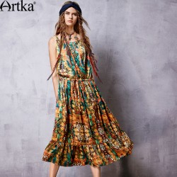Artka Women's Spring New Boho Style Printed Spaghetti Strap Dress Vintage Cinched Waist Drawstring Wide Hem Dress LA11069C