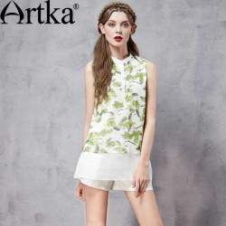 Artka Women's Spring New Patchwork Printed Chiffon Shirt Fashion Stand Collar Sleeveless All-match Twin-set Shirt SA11560C